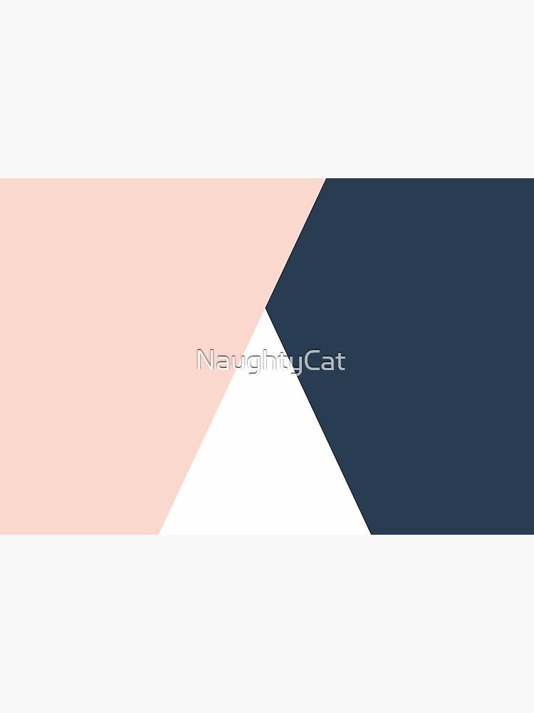 Modern geometric blush pink & navy blue  by NaughtyCat