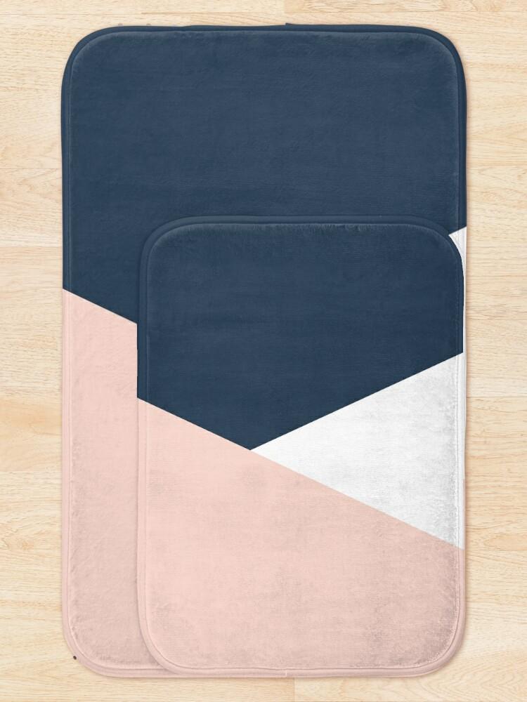 Alternate view of Modern geometric blush pink & navy blue  Bath Mat