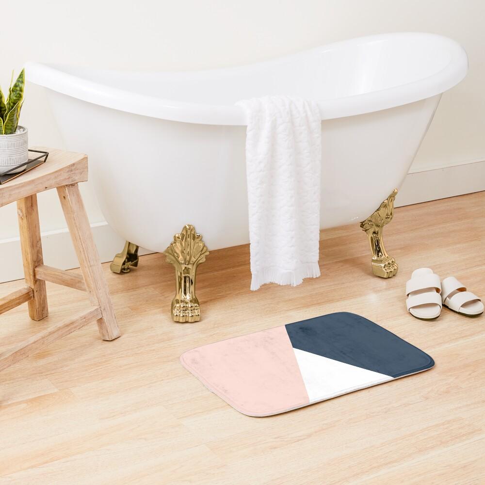 Modern geometric blush pink & navy blue  Bath Mat