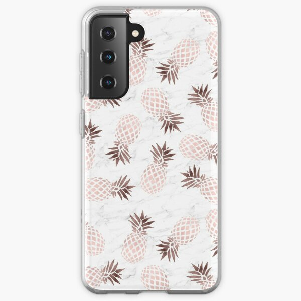 Elegant white marble rose gold pineapple Samsung Galaxy Soft Case