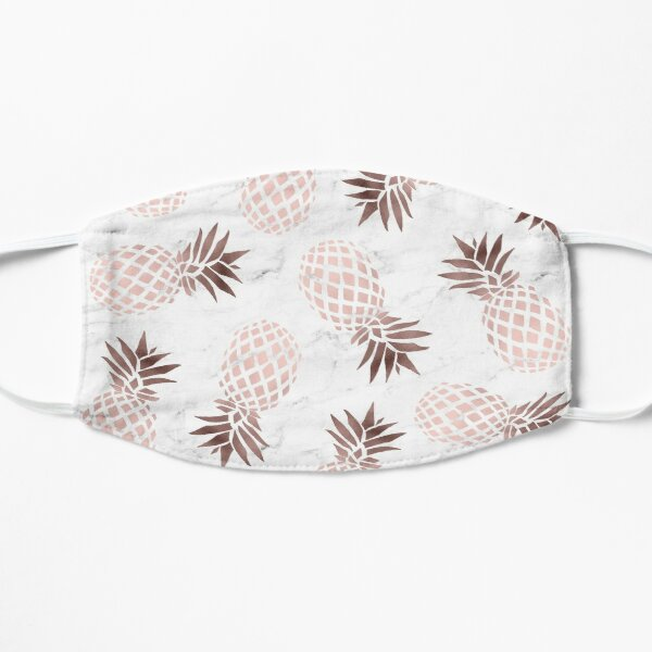 Elegant white marble rose gold pineapple Flat Mask