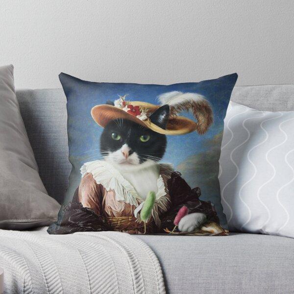 Cat Portrait - Batters Throw Pillow