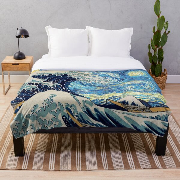 A Great Wave under a Starry Night Throw Blanket