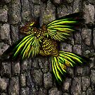 yellow gold dracopheonix on bark by Aurora