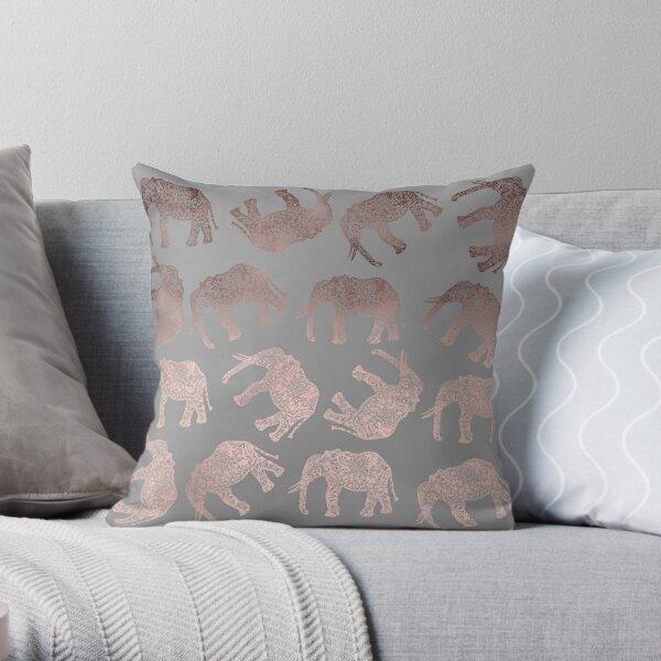 Stylish boho rose gold elephant pattern  Throw Pillow