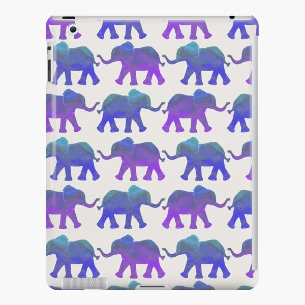 Follow The Leader - Painted Elephants in Purple, Royal Blue, & Mint iPad Snap Case