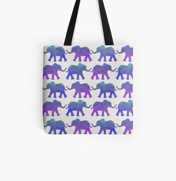 Follow The Leader - Painted Elephants in Purple, Royal Blue, & Mint All Over Print Tote Bag