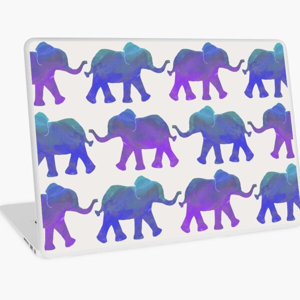Follow The Leader - Painted Elephants in Purple, Royal Blue, & Mint Laptop Skin
