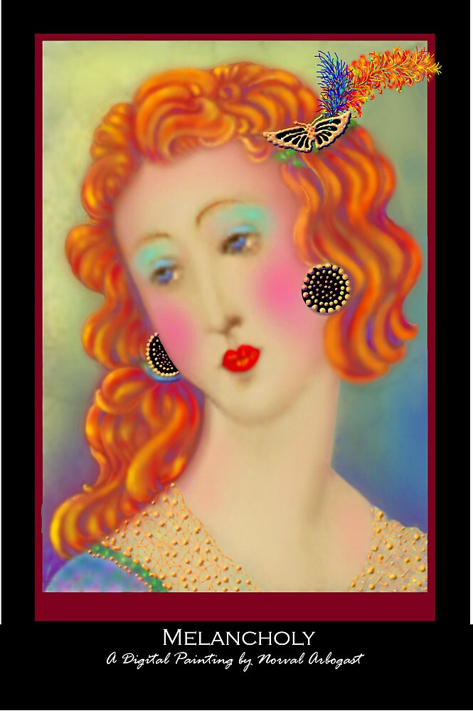 'Melancholy', Titled Greeting Card or Small Print by luvapples downunder/ Norval Arbogast
