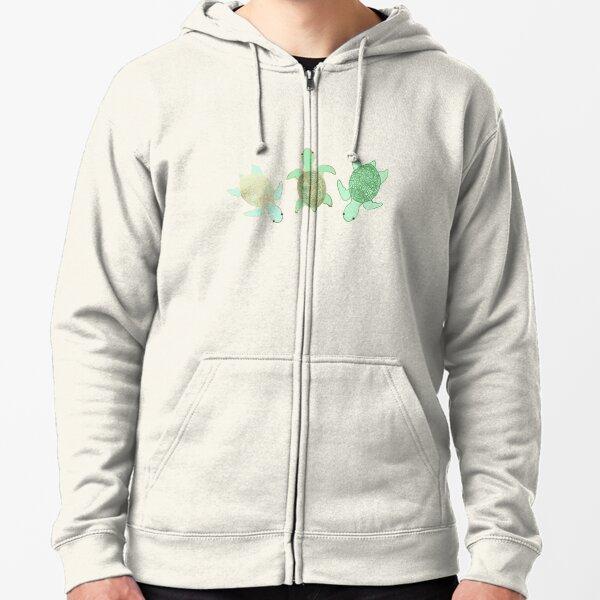 Gilded Jade & Mint Turtles Zipped Hoodie