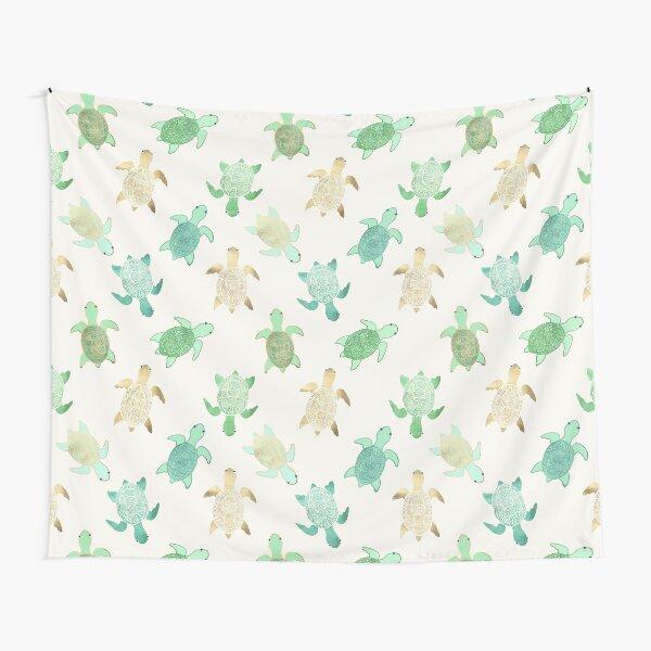 Gilded Jade & Mint Turtles Tapestry