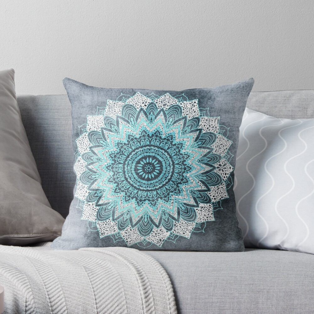 BOHOCHIC MANDALA IN BLUE Throw Pillow