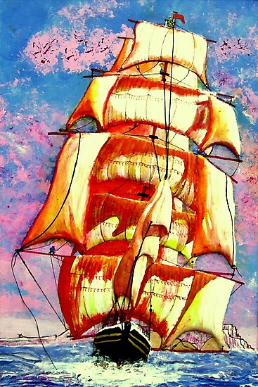 My acrylic painting of A Golden Clipper Ship Leaving Gibraltar by Dennis Melling