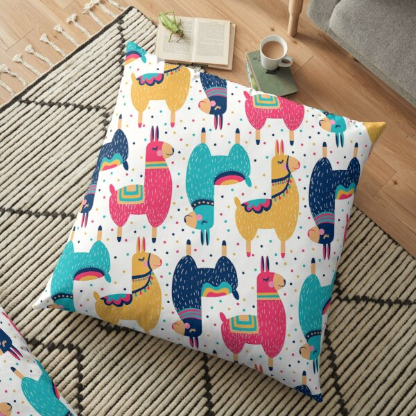 Lhamas colorful Floor Pillow