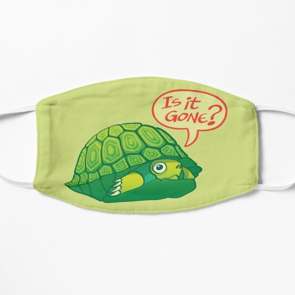 Green turtle asking if it's good time to go out of its shell  Mask