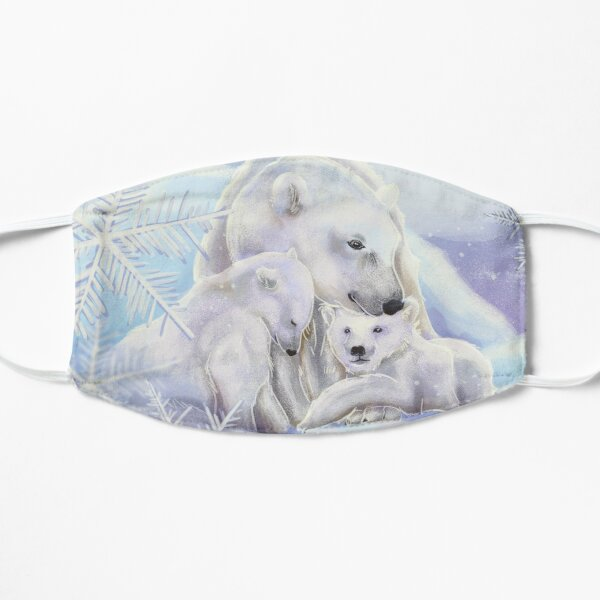 Polar bears in the snow with snowflakes Mask