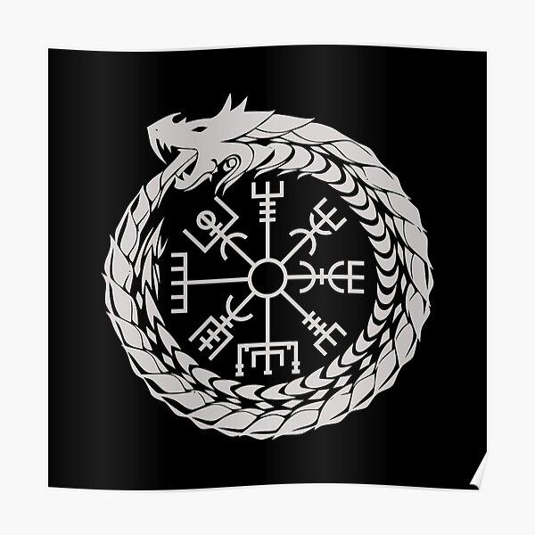Vegvisir Jormungandr World Serpent Norse Mythology Poster