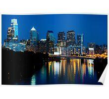 Philadelphia Skyline at Night Poster