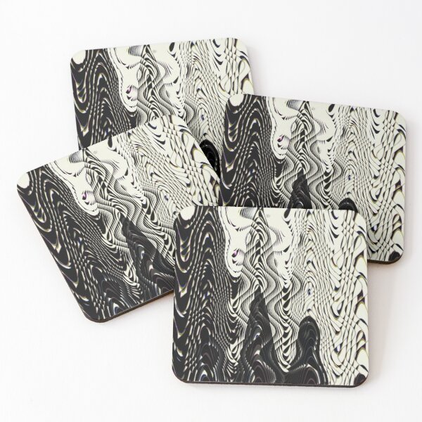 Black and White Abstract Coasters (Set of 4)