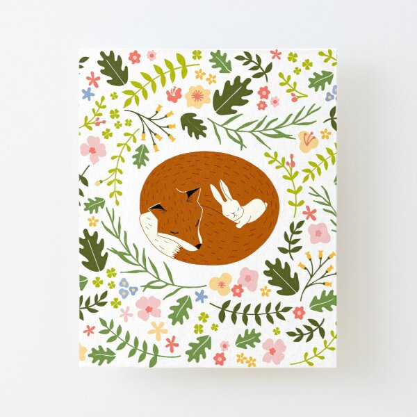 Friendship Fox-Rabbit_BgWhite Canvas Mounted Print