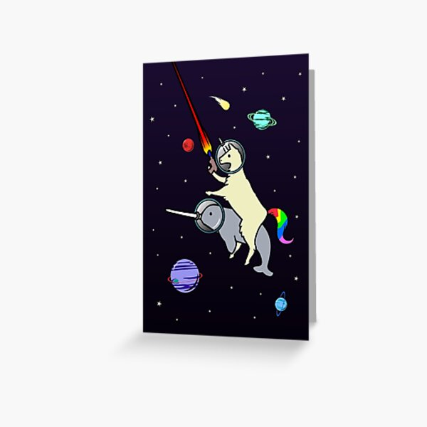 Llamacorn Riding Narwhal In Space Greeting Card