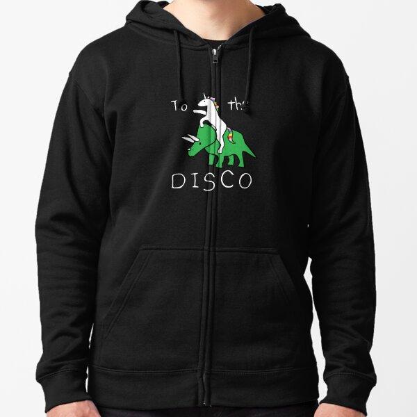To The Disco (texto blanco) Unicornio montando Triceratops Sudadera con capucha y cremallera