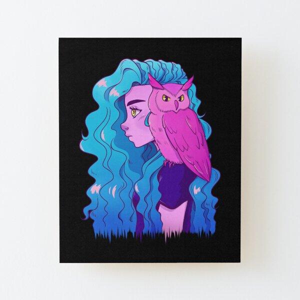 Neon Owl Girl Wood Mounted Print