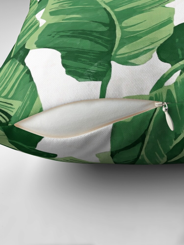 Alternate view of Tropical banana leaves II Throw Pillow