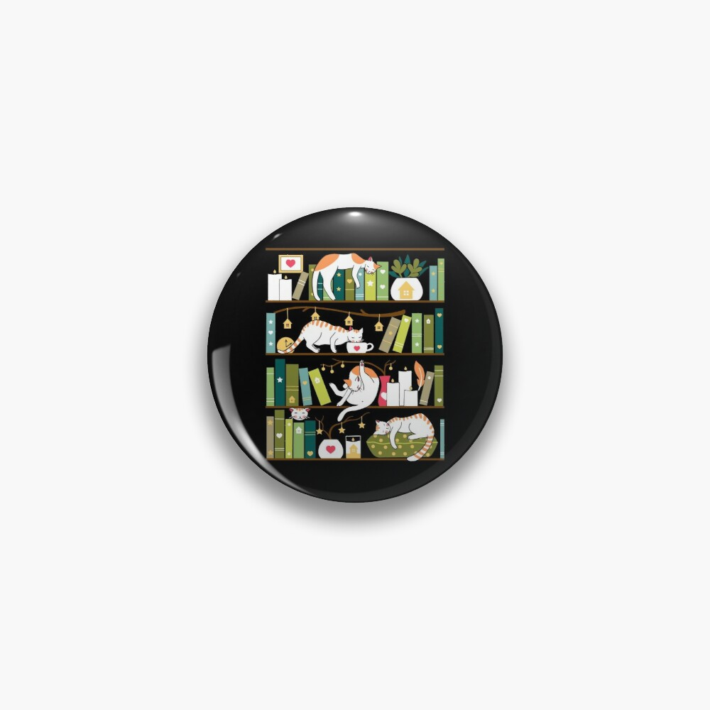 Library cats - whimsical cats on the book shelves  Pin