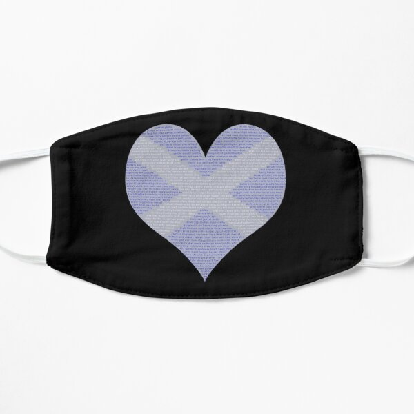 Scots Words in a Saltire in a Heart Flat Mask