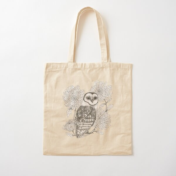 owl and chrysanthemums on teal blue background Cotton Tote Bag