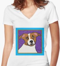 Jack Russell Cartoon Women's Fitted V-Neck T-Shirt