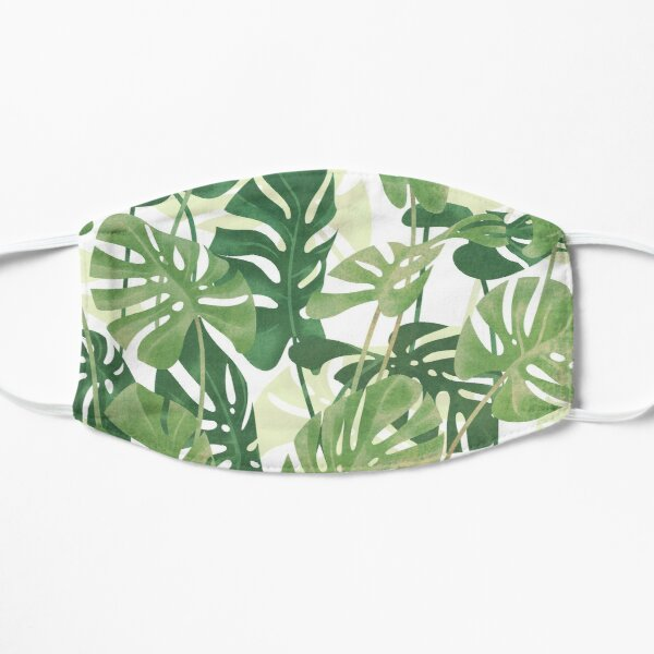 Vintage Monstera leaves Flat Mask