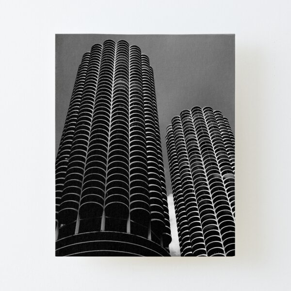 Chicago Skyscrapers - Marina City in Black and White Canvas Mounted Print