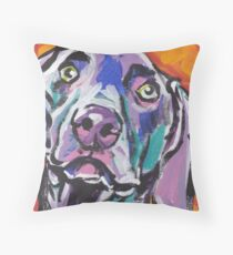 Weimaraner Dog Bright colorful pop dog art Throw Pillow