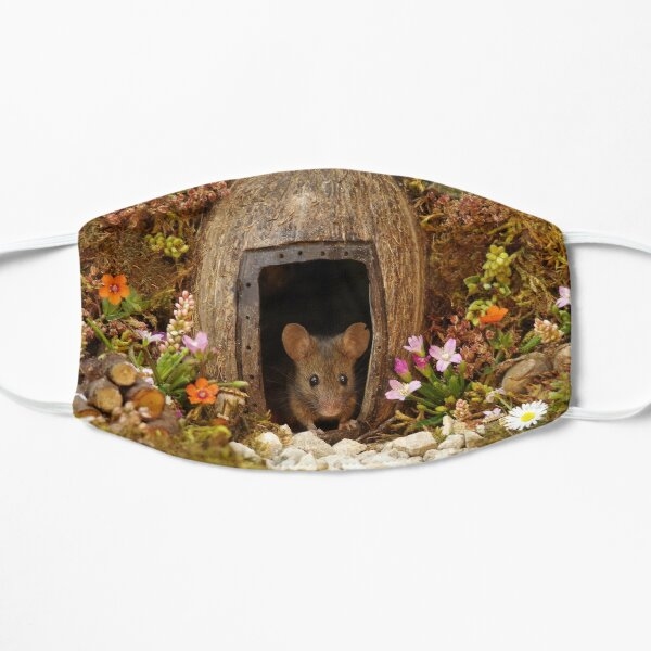 George the mouse in a log pile House at the door  Flat Mask