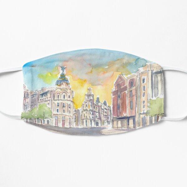 Gran Vía Street Morning Scene en Madrid España Mascarilla plana