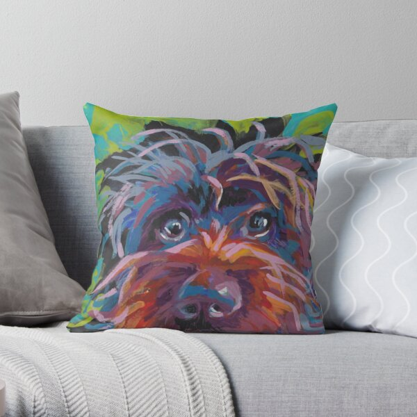 WireHaired Pointing Griffon Bright colorful pop dog art Throw Pillow