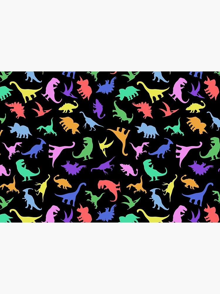Fun Dinosaur Pattern (Black Background) by jezkemp
