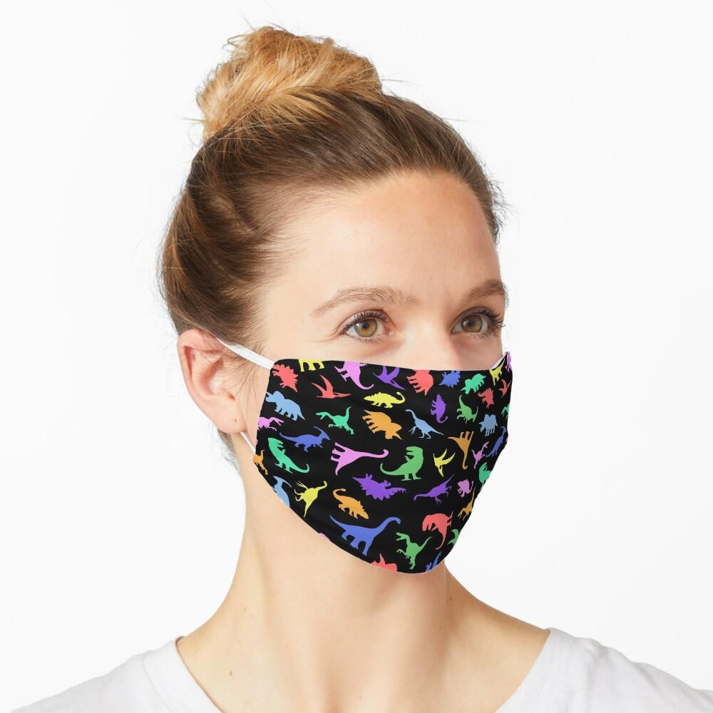 Spaß-Dinosaurier-Muster (schwarzer Hintergrund) Maske