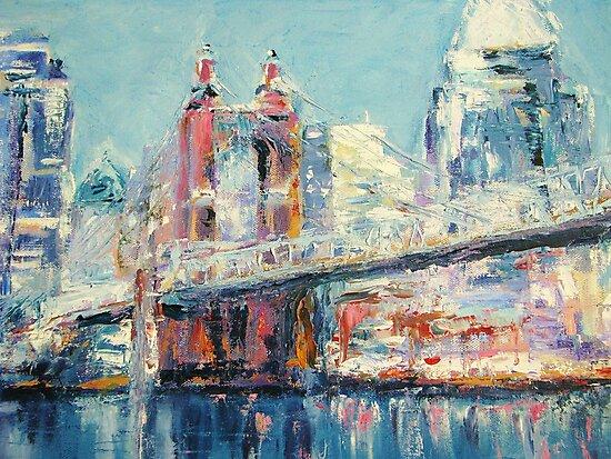 Cincinnati and Roebling Bridge  by -KAT-