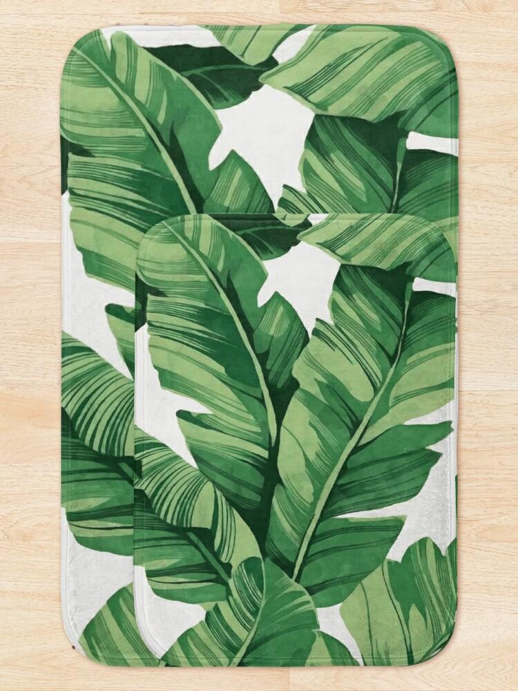 Alternate view of Tropical banana leaves Bath Mat