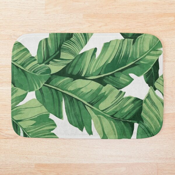Tropical banana leaves Bath Mat