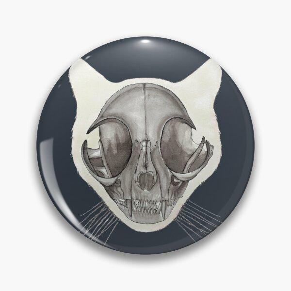 Cat Skull: Halloween Watercolor Animal Skeleton Anatomy Pin