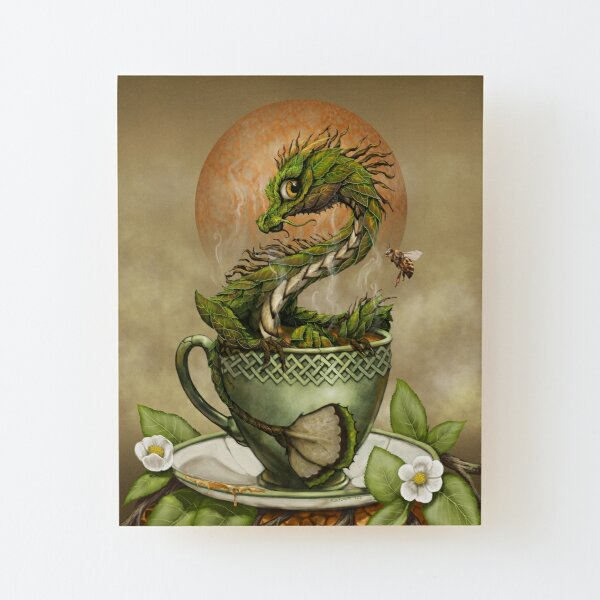 Tea Dragon Wood Mounted Print