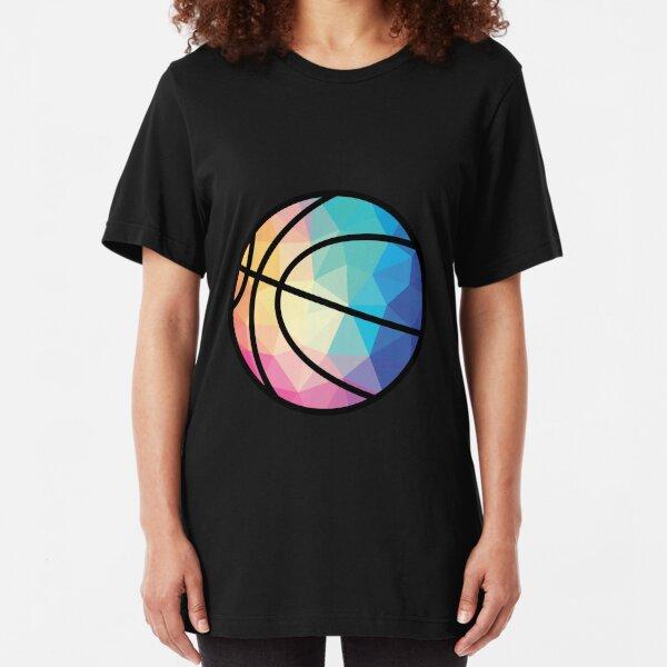 Geometric Basketball Shape Low Poly Basketball Gift Slim Fit T-Shirt