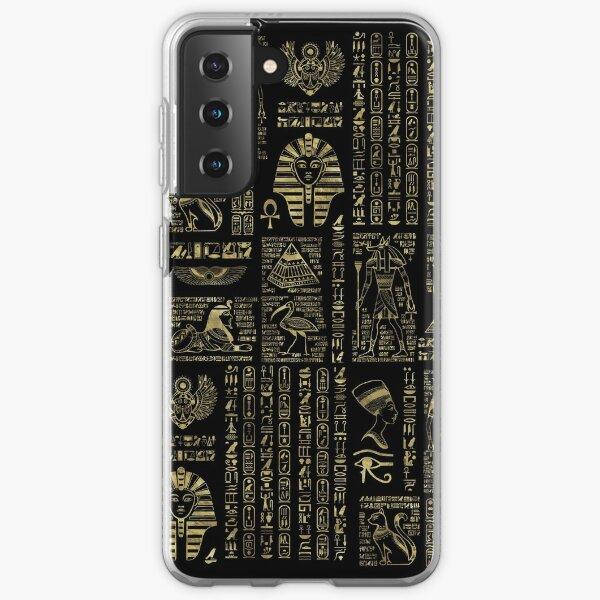 Egyptian hieroglyphs and deities gold on black  Samsung Galaxy Soft Case