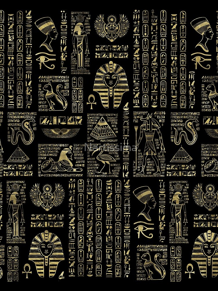 Egyptian hieroglyphs and deities gold on black  by Nartissima