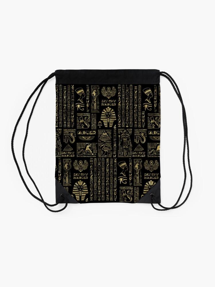 Alternate view of Egyptian hieroglyphs and deities gold on black  Drawstring Bag