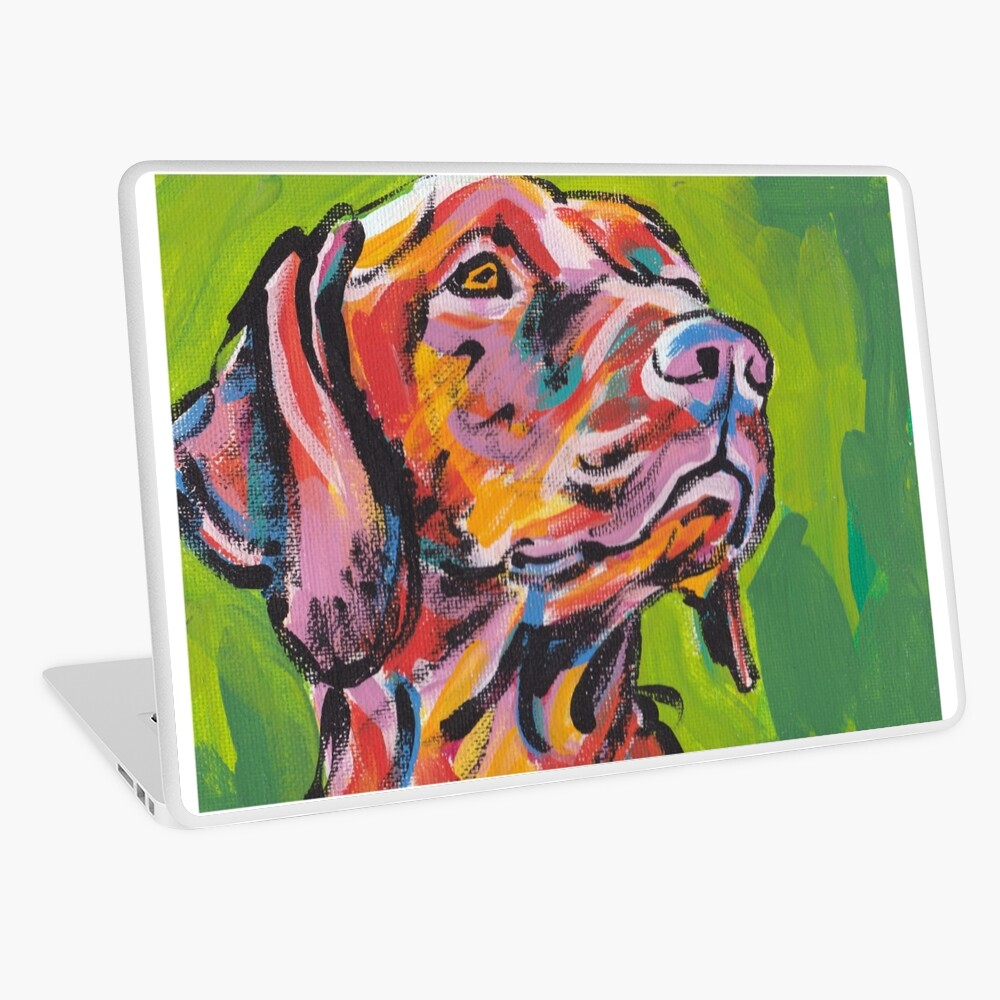 Vizsla Dog Arte pop colorido brillante Vinilo para portátil